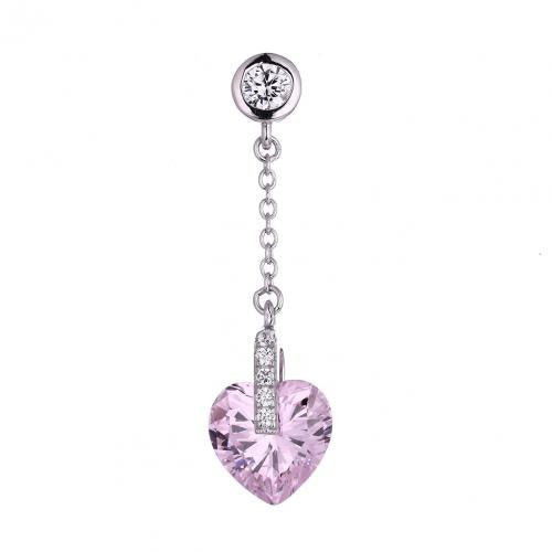 Rhodium Gemstone Heart 925 Silver Jewelry Necklace HP37303C