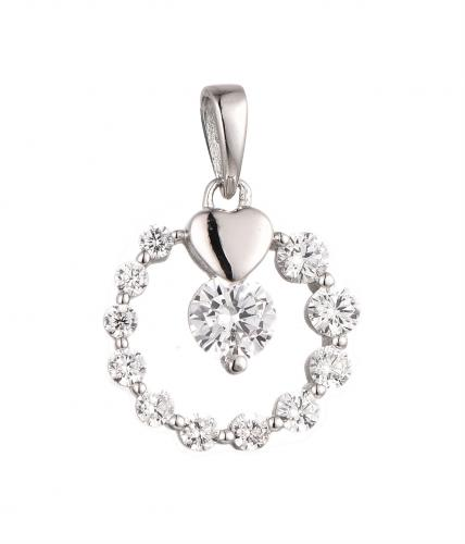 Rhodium CZ Circle Fashion 925 Silver Jewelry Necklace HP37601C