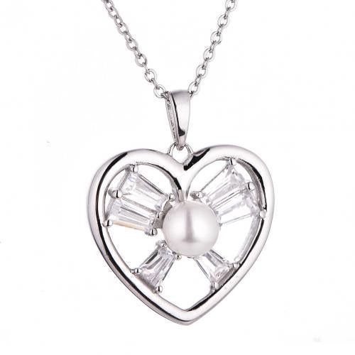 Rhodium Pearl Heart 925 Sterling Silver Necklace HP38205A
