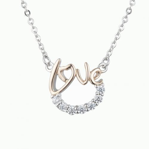 Rhodium CZ Letter Fashion 925 Silver Jewelry Necklace HP38405A