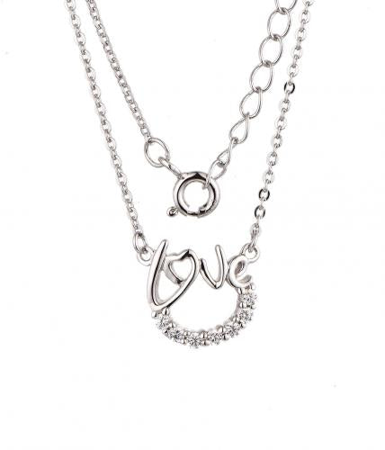 White Gold CZ Layered Letter Fashion 925 Silver Jewelry Necklace HP38405C