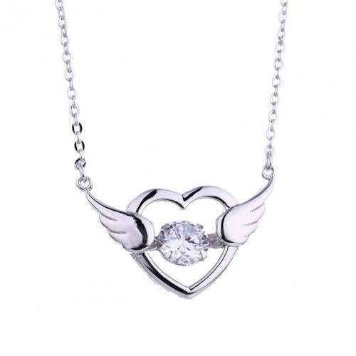 Rhodium CZ Layered Heart Dancing 925 Silver Jewelry Necklace HP39003A