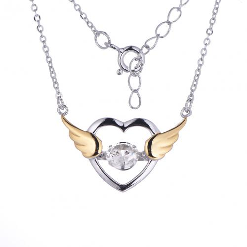 Yellow Gold CZ Layered Heart Dancing 925 Silver Jewelry Necklace HP39003E