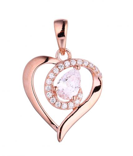 Rose Gold CZ Heart 925 Silver Jewelry Necklace HP40001B