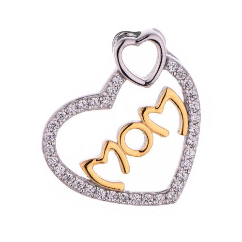 Yellow Gold CZ Heart 925 Silver Jewelry Necklace HP40808A