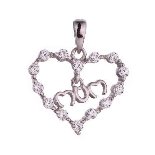 Rhodium CZ Heart 925 Silver Jewelry Necklace HP41109A