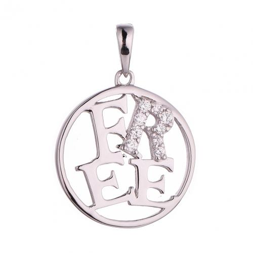 Rhodium CZ Coin Fashion 925 Silver Jewelry Necklace HP41307A