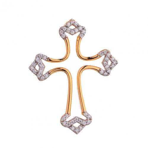 Yellow Gold CZ Cross 925 Sterling Silver HP41603D