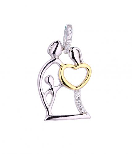 Yellow Gold CZ Character 925 Silver Jewelry Necklace HP42302B