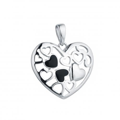 Rhodium Enamel Heart 925 Sterling Silver Necklace HP42605A