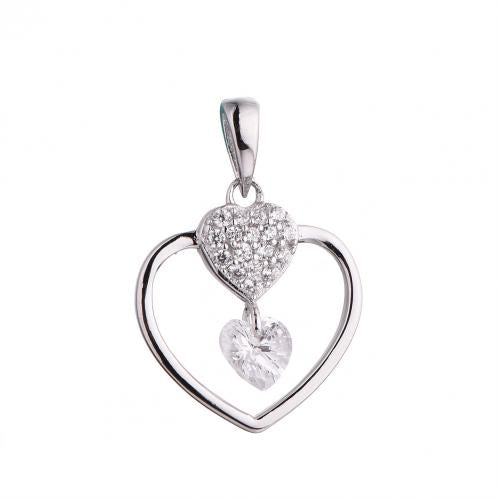 Rhodium CZ Heart 925 Silver Jewelry Necklace HP42701A