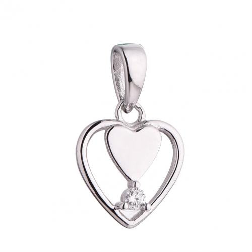 Rhodium CZ Heart 925 Silver Jewelry Necklace HP43304A