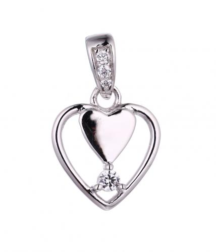 Rhodium CZ Heart 925 Silver Jewelry Necklace HP43304B
