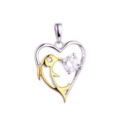 Yellow Gold CZ Heart 925 Silver Jewelry Necklace HP44709A