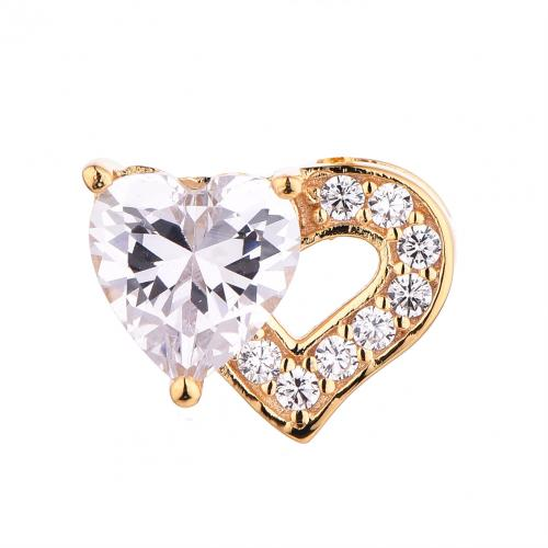 Yellow Gold CZ Heart 925 Silver Jewelry Necklace HP44807D