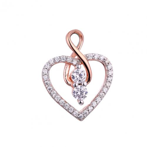 Rose Gold CZ Heart 925 Silver Jewelry Necklace HP45006A