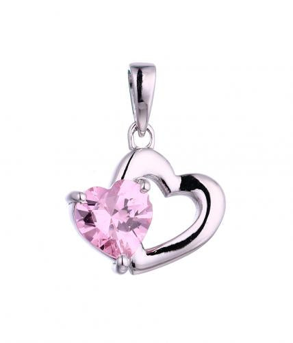 Rhodium Gemstone Heart 925 Silver Jewelry Necklace HP45109A