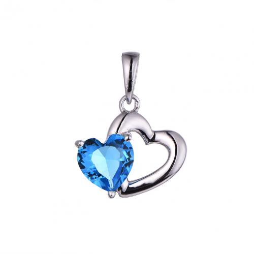 Rhodium Sapphire Heart 925 Silver Jewelry Necklace HP45109B