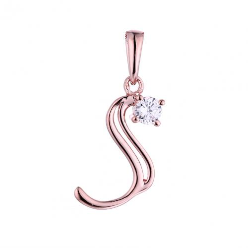 Rose Gold CZ Initial Letter Fashion 925 Silver Jewelry Necklace HP45308B