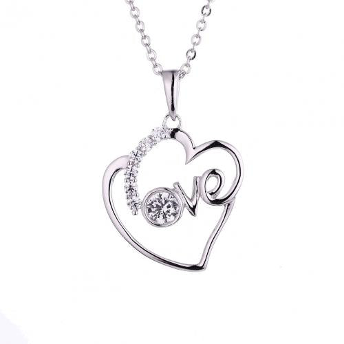 Rhodium CZ Heart 925 Silver Jewelry Necklace HP45607A
