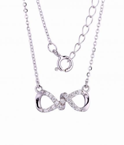Rhodium CZ Layered Infinity 925 Sterling Silver Necklace HP45900A
