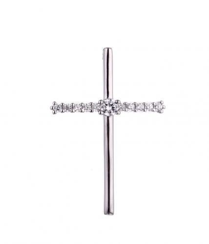 Rhodium CZ Cross 925 Sterling Silver Necklace HP46208B