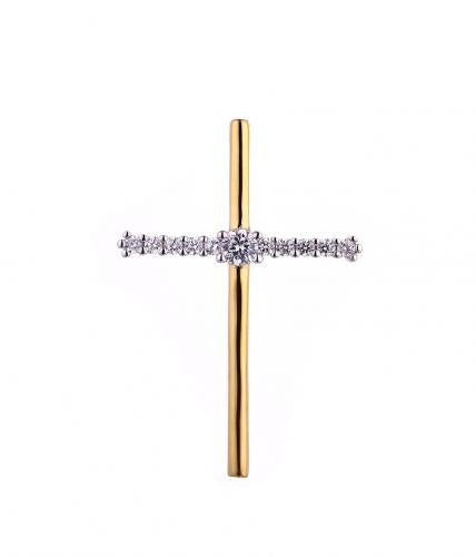 Yellow Gold CZ Cross 925 Sterling Silver Necklace HP46208D