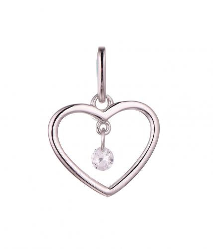 White Gold CZ Heart 925 Sterling Silver HP46609A