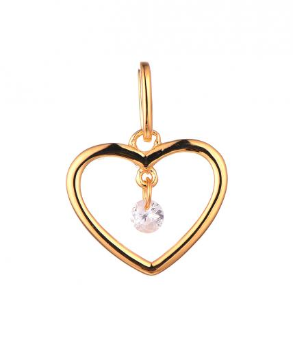 Yellow Gold CZ Heart 925 Sterling Silver HP46609C