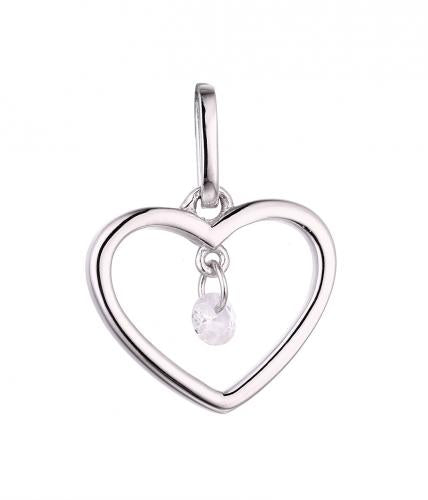 Rhodium CZ Heart 925 Sterling Silver Necklace HP46700A