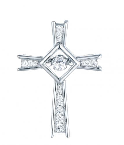 Rhodium CZ Cross Dancing 925 Sterling Silver Necklace HP016B6A