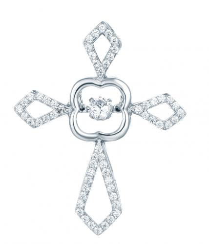 Rhodium CZ Cross Dancing 925 Sterling Silver Necklace HP016B8A