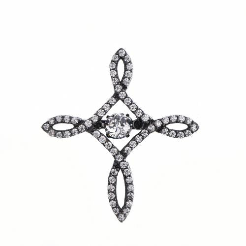 Black Gold CZ Cross Dancing 925 Sterling Silver Necklace HP016B9E