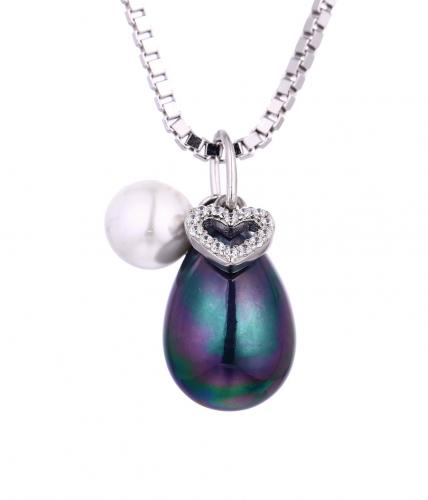 Rhodium Pearl Pear Fashion 925 Sterling Silver Necklace HP355C2A