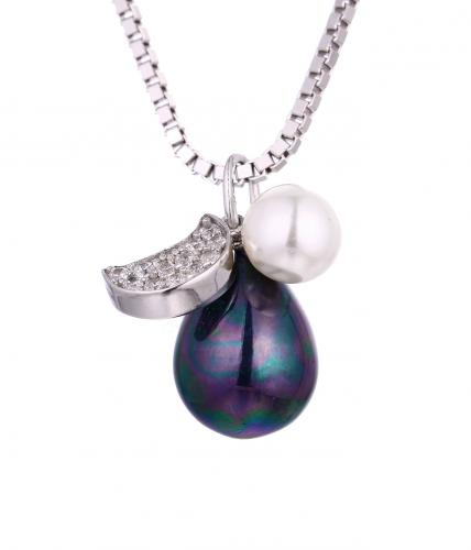 Rhodium Pearl Pear Fashion 925 Sterling Silver Necklace HP355C3A