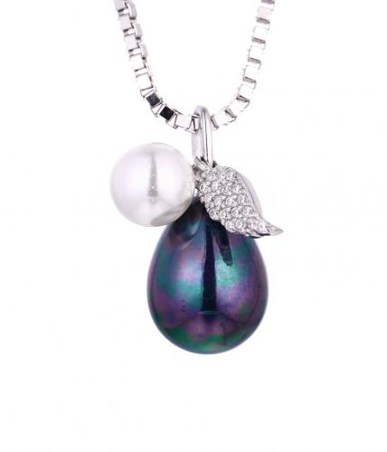 Rhodium Pearl Pear Fashion 925 Sterling Silver Necklace HP355C4A