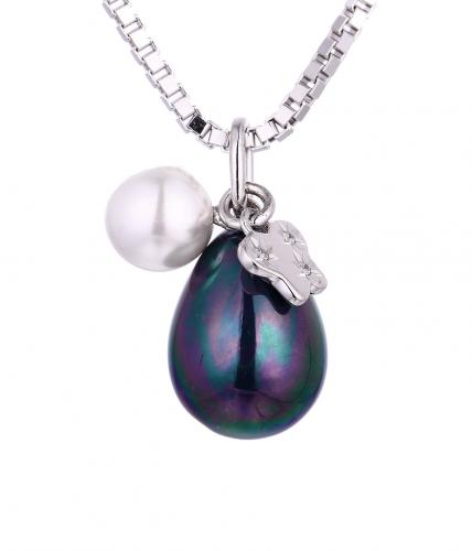 Rhodium Pearl Pear Fashion 925 Sterling Silver Necklace HP355C7A