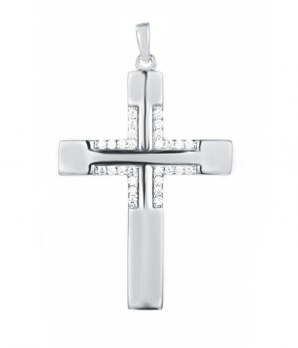 Rhodium CZ Cross 925 Sterling Silver Necklace HP026D9A