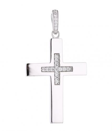Rhodium CZ Cross 925 Sterling Silver Necklace HP027D0B