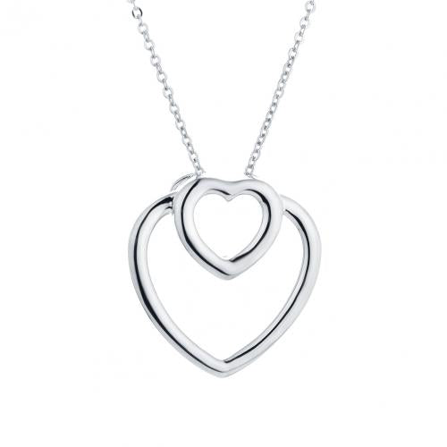 Rhodium Heart 925 Sterling Silver Necklace HP046D1A