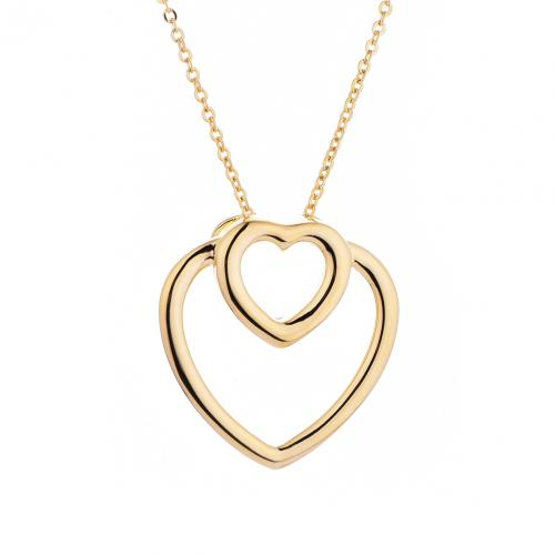 Yellow Gold Heart 925 Sterling Silver Necklace HP046D1C