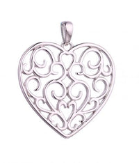 Rhodium Heart 925 Sterling Silver Necklace HP067D1A