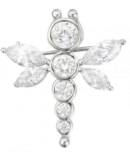 Rhodium CZ Dragonfly Animal 925 Silver Jewelry Necklace HP001H7A