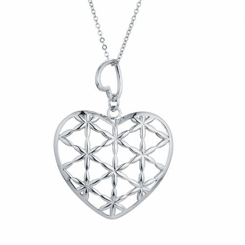 Rhodium Heart 925 Sterling Silver Necklace HP009H9A