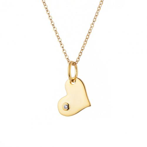 Yellow Gold CZ Heart 925 Sterling Silver Necklace HP003J3F