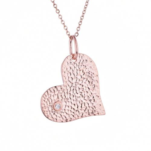 Rose Gold CZ Heart 925 Sterling Silver Necklace HP003J4E