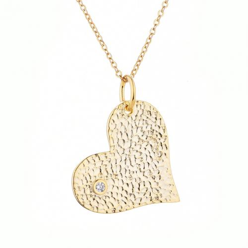 Yellow Gold CZ Heart 925 Sterling Silver Necklace HP003J4F