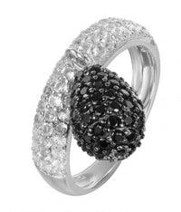 Rhodium Spinel Fashion Ball 925 Sterling Silver Ring HR00109E