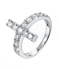 Rhodium CZ Cross 925 Sterling Silver Ring HR01607A