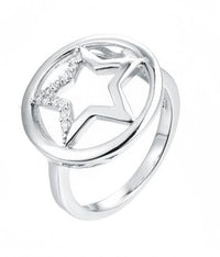 Rhodium CZ Star Fashion 925 Sterling Silver Ring HR10609A